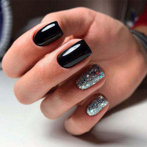 Squoval Silvers: The Most Beautiful Black Winter Nails Ideas