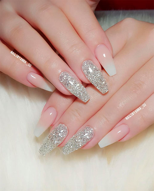 Pink And Silver Glitter Ombre Nails Nail And Manicure Trends