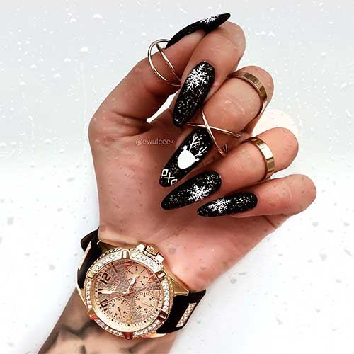 The Most Beautiful Black Winter Nails Ideas Stylish Belles