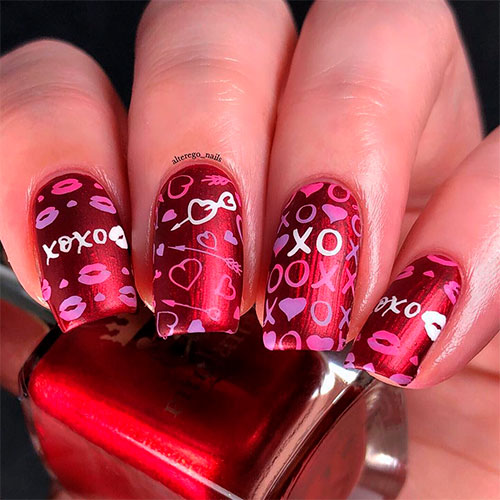 Beautiful Red Matte Coffin Nails for Valentine's Day
