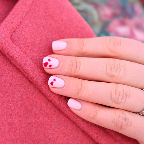 Cute Heart Nail Design for Short Pink Nails!
