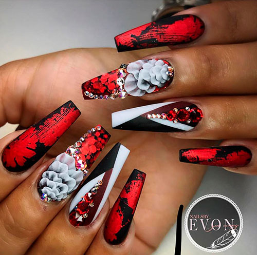 Cute Red, Black, and White Long Coffin Nails for Valentine's Day!