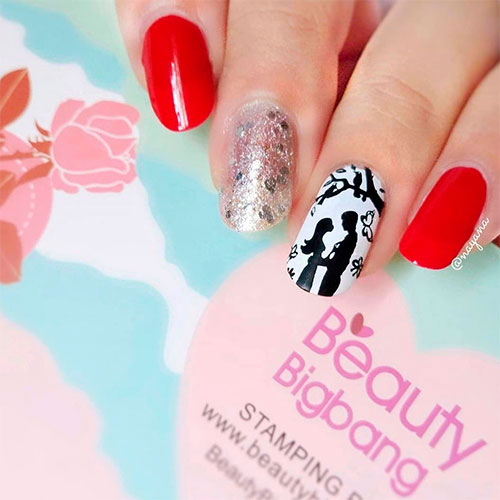 Cute Romantic Nails for Valentine's Day