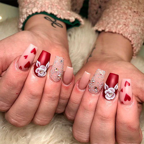 Festive Coffin Shaped Valentines Day Nails