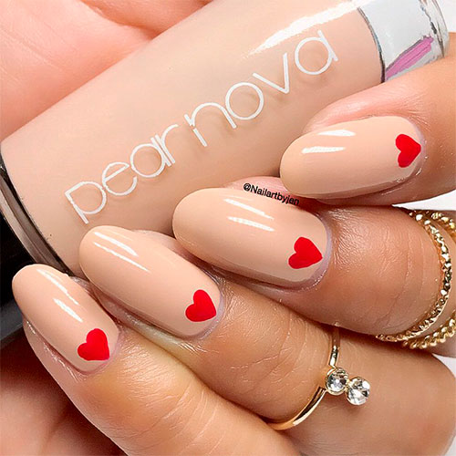 Gorgeous Heart Nail Design on Oval Nude Nails