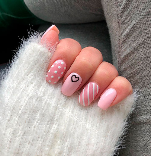 Pretty Pink Nails for Valentine's Day