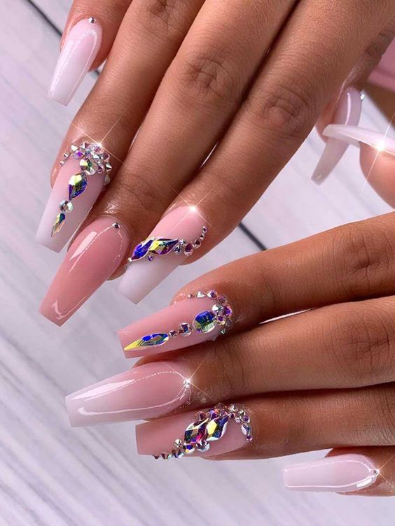 Pink Ombre White Coffin Nails Nail And Manicure Trends Wait, these ombré nails are so freaking cool.