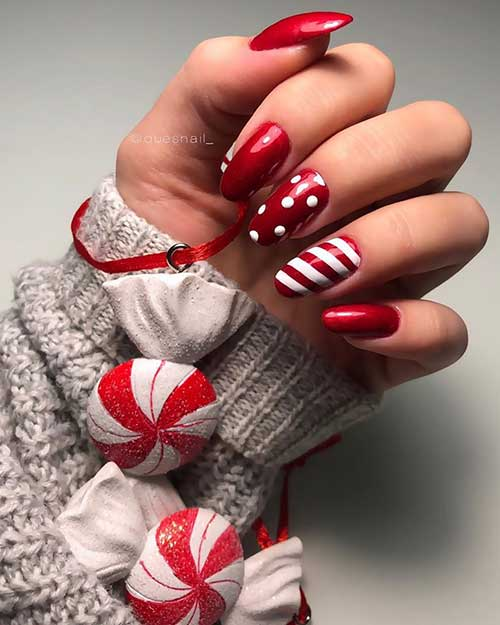 Classy almond red acrylic nails set for Christmas!
