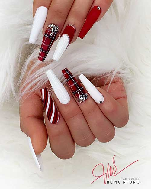 Most Beautiful and Attractive Red Christmas Nails 2019