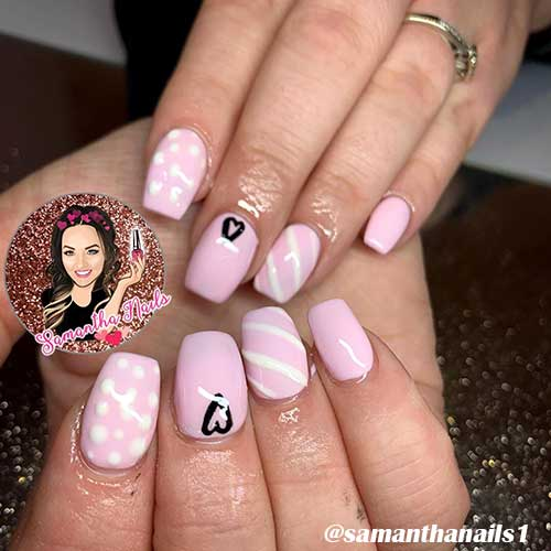 Cute coffin shaped pink valentines nails design!