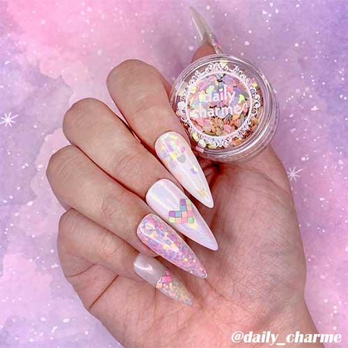 Cute pastel hearts valentines stiletto nails design!