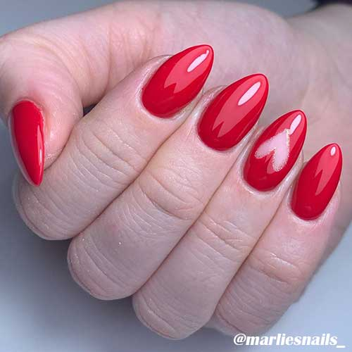 Cute red simple valentines day nails design!