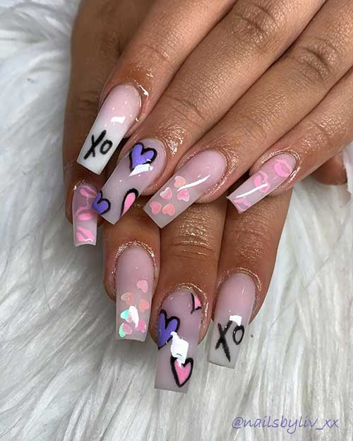 ombre nails coffin shaped with hearts and lips for valentines day