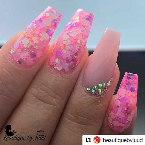 Sequins on Top Valentine's Nail Art 2020