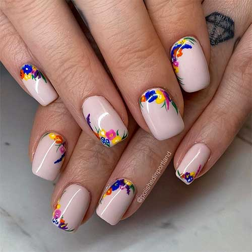 Cute Floral Nail Art Spring Nails Squared Shaped